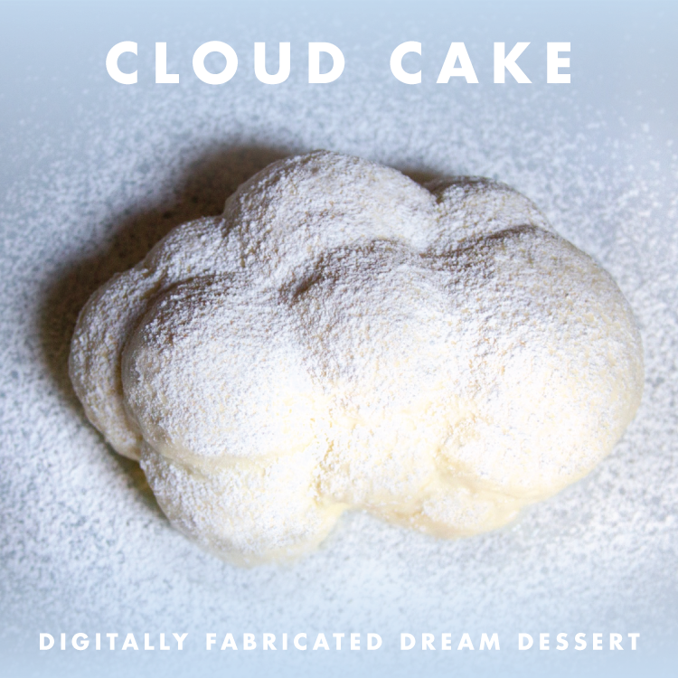 Cloud shaped 3D printed dessert